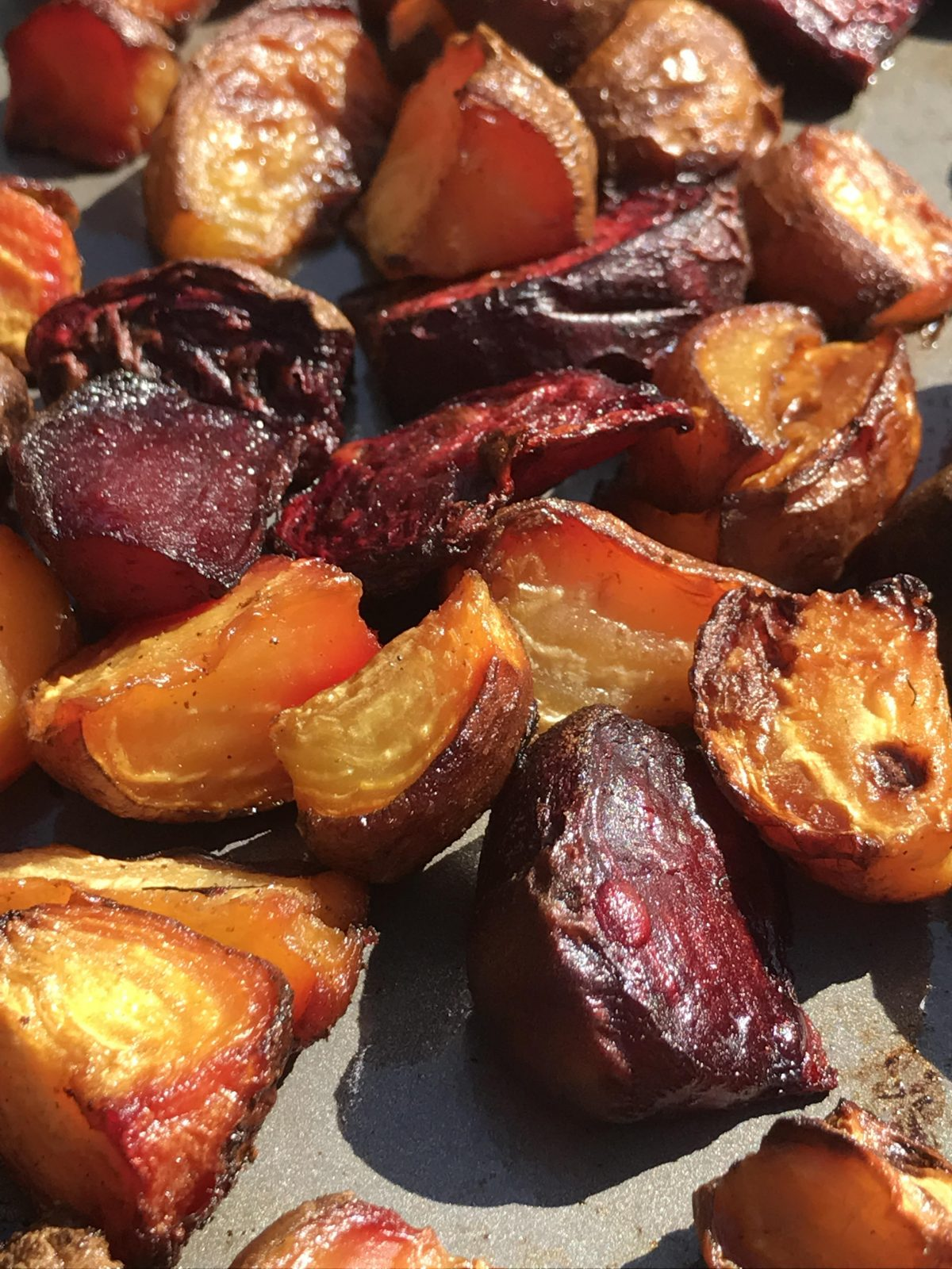 roasted golden and red beets