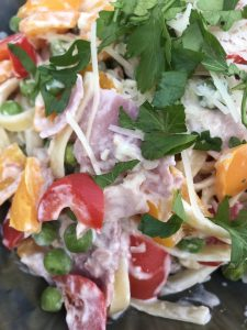 creamy pasta with ham peppers and peas
