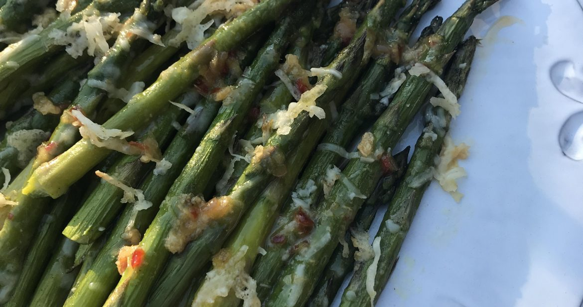 asparagus with lemony sweet chili glaze