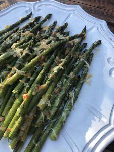 asparagus with lemony sweet chili glaze