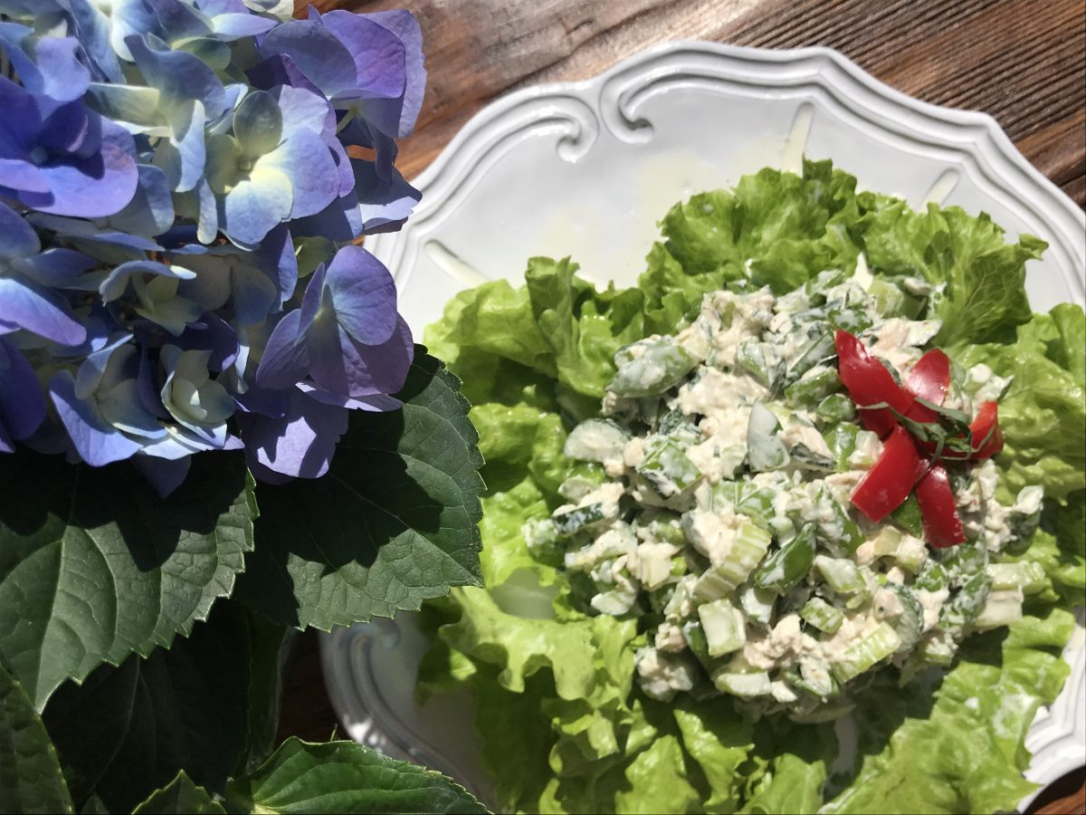 gorgeous green salad (with a red pepper garnish!)