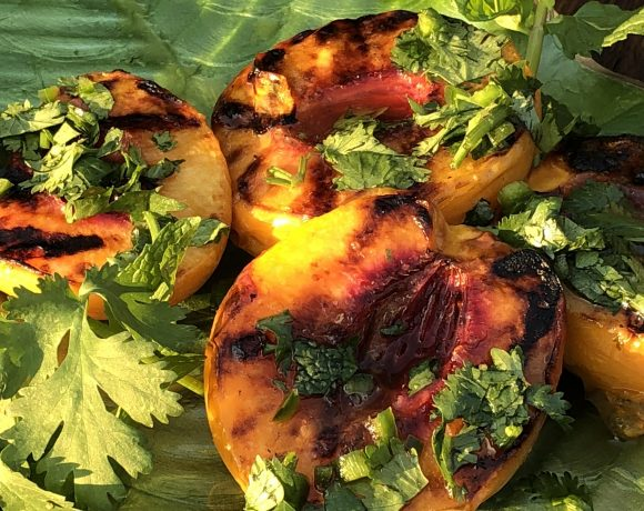 Grilled Peaches Drizzled With Tequila Cilantro Sauce