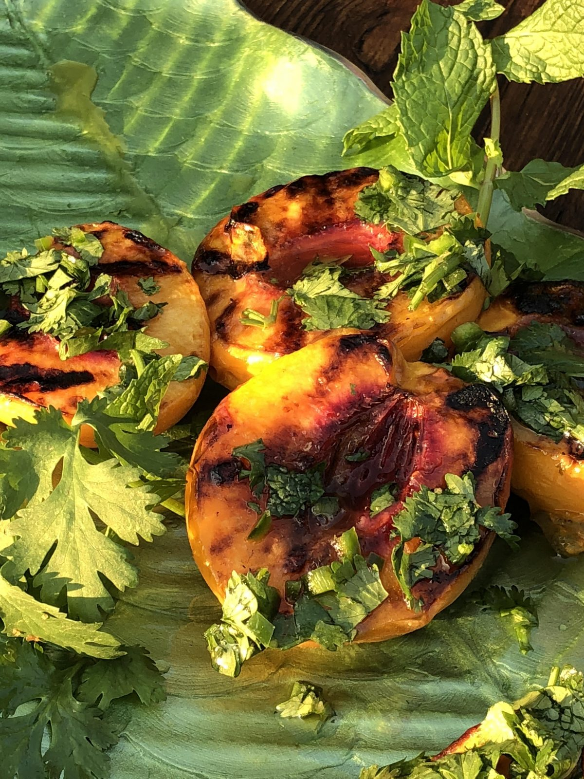 grilled peaches with tequila cilantro sauce