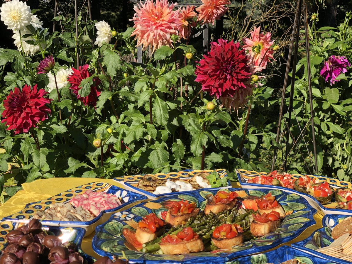 antipasto and dahlias