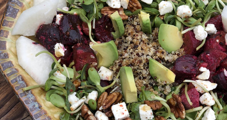 autumn harvest bowl chock full of beets, jicama, and micro greens