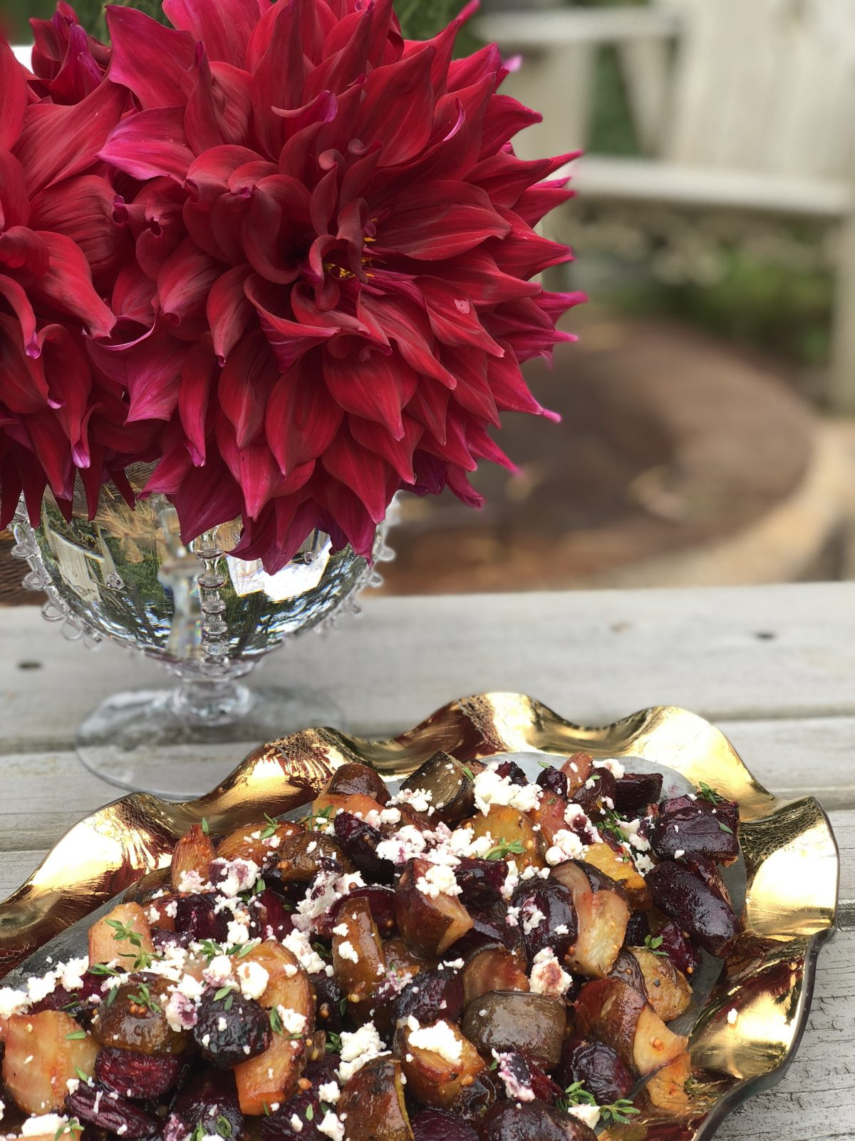 I love when the dahlias match the beets!