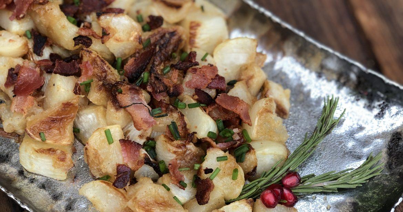 bacon sprinkled roasted turnips with a horseradish maple glaze