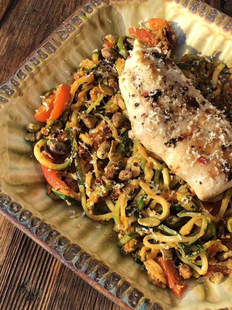 red pepper pesto zoodles with grilled chicken