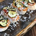 roasted curly zoodle brushetta with red pepper pesto