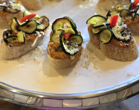 roasted curly zoodle bruschetta with pepper pesto