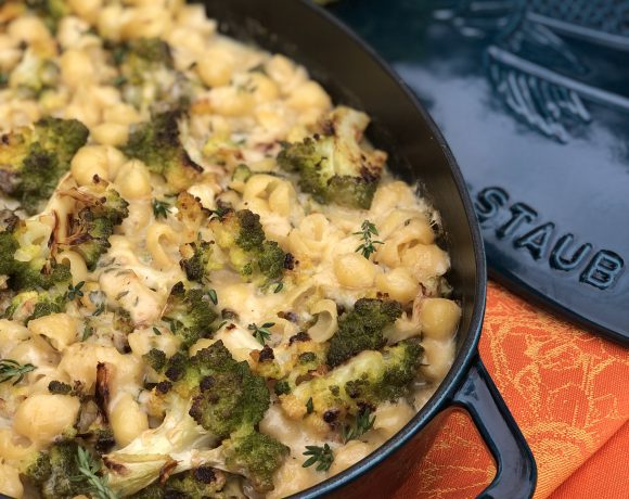 roasted romanesco cheesy pasta