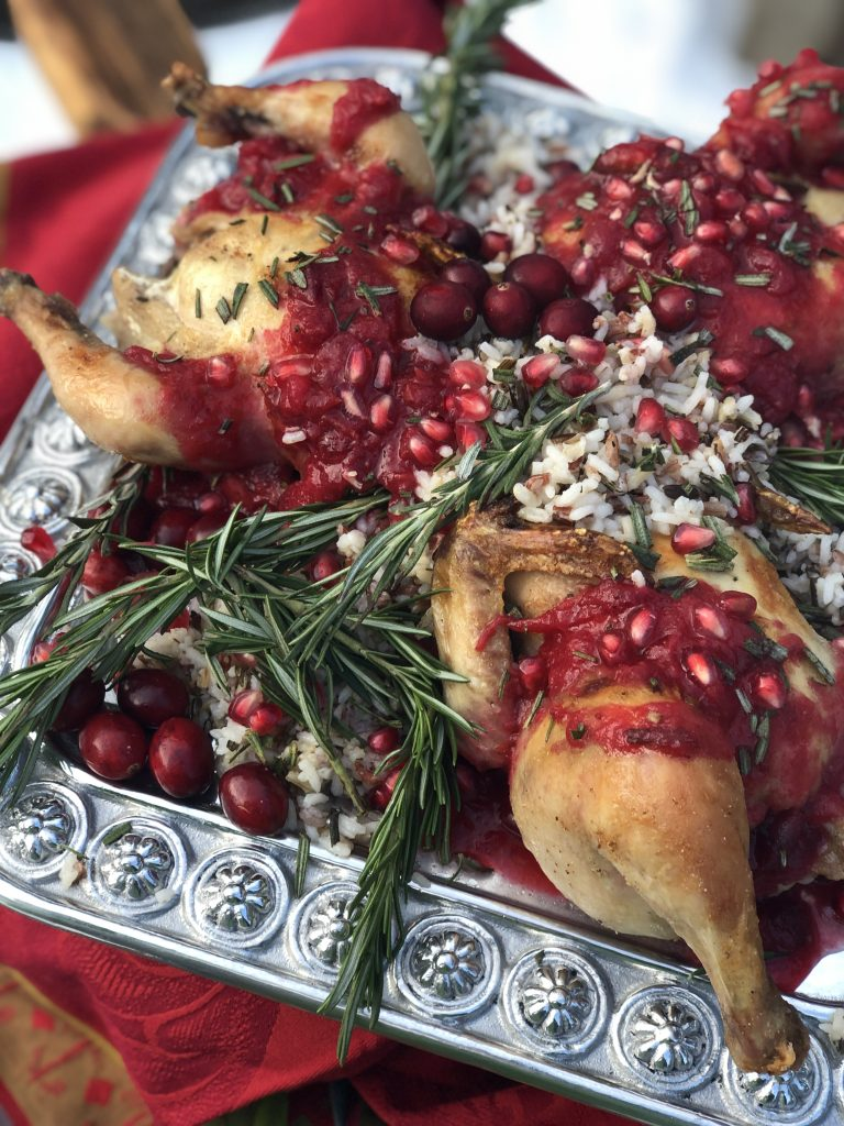 3 french cornish hens drizzled with a cranberry orange holiday glaze
