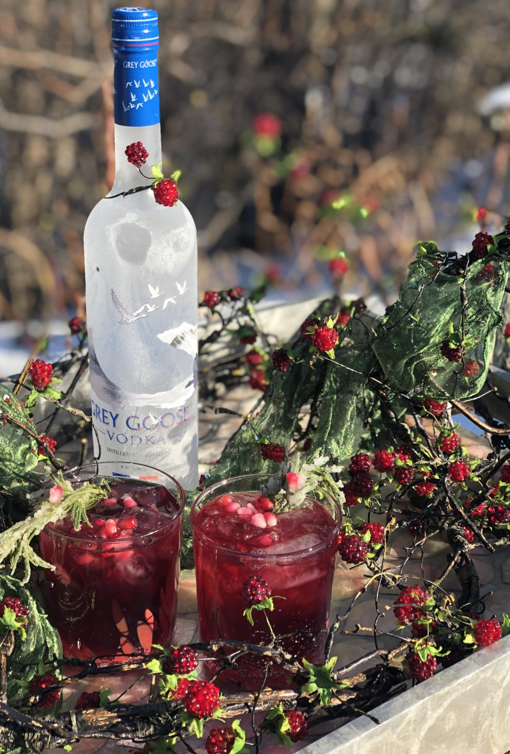 six grey geese a laying vodka cranberry pomegranate holiday cocktail
