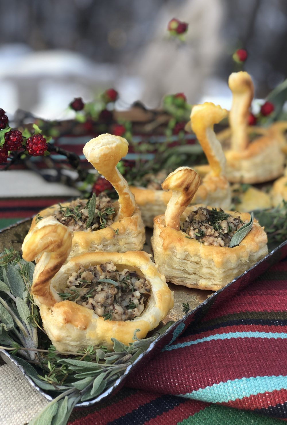 puff pastry filled with mushroom and sage filling